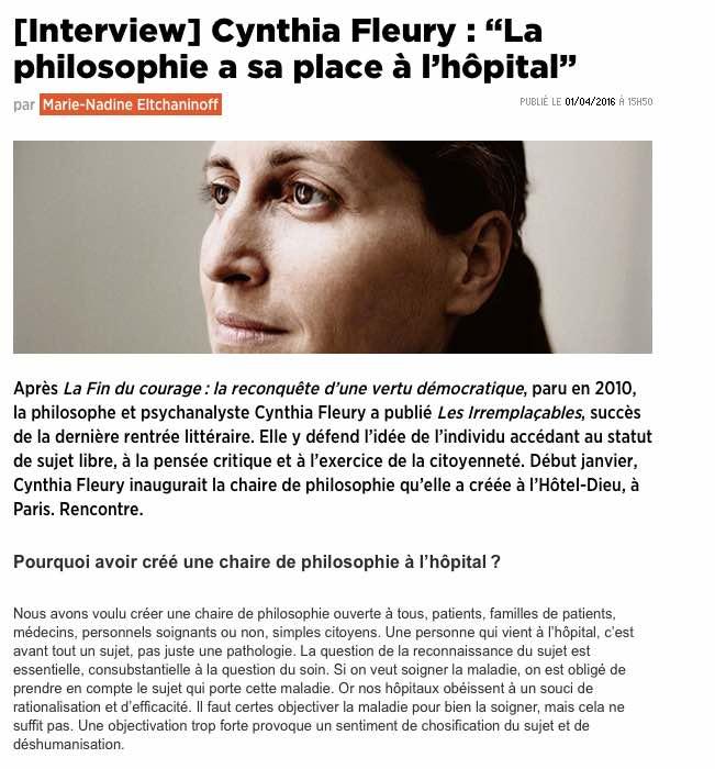 Cynthia Fleury : la philosophie a sa place à l'hôpital